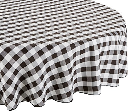 LinenTablecloth 70-Inch Round Polyester Tablecloth Black & White Checker (Black & White Checkered Tablecloth)
