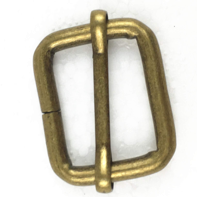 Movable Bar Slide Strap Adjuster Rectangle Strap Keeper, Pack of 20 (1 Inch, Antique Brass)