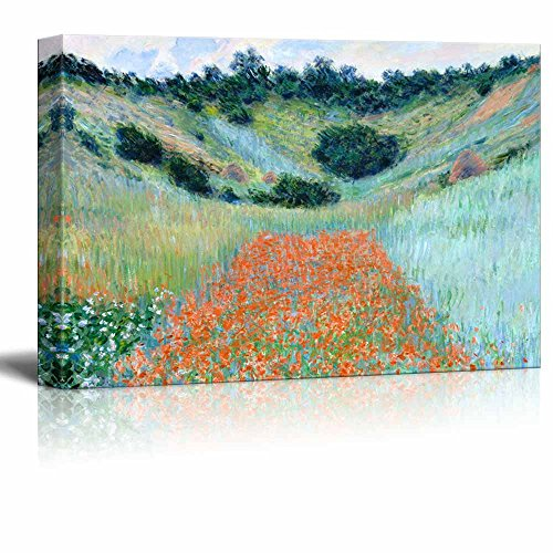Poppy Field in a Hollow Near Giverny by Claude Monet Print Famous Painting Reproduction