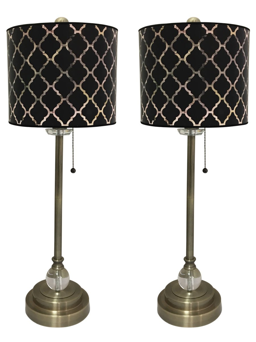 Royal Designs 28'' Crystal and Antique Brass Buffet Lamp with Black Moroccan Tile Design Hardback Lamp Shade, Set of 2