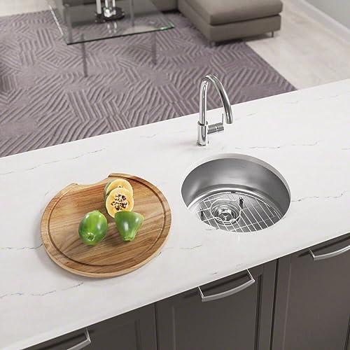 465 18 Gauge Stainless Steel Kitchen Ensemble Bundle – 4 Items Sink, Basket Strainer, Sink Grid, and Cutting Board