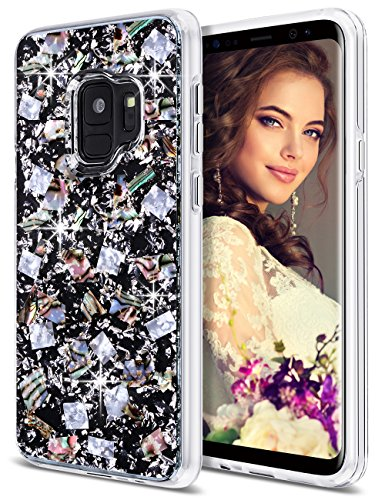 Coolden Galaxy S9 Case, Luxury Glitter Case with Shells Foil Cute Girly Durable Shockproof 2-Layers Solid PC Cover Case + Flexible TPU Frame for Samsung Galaxy S9 (2018 Released), Silver Shell