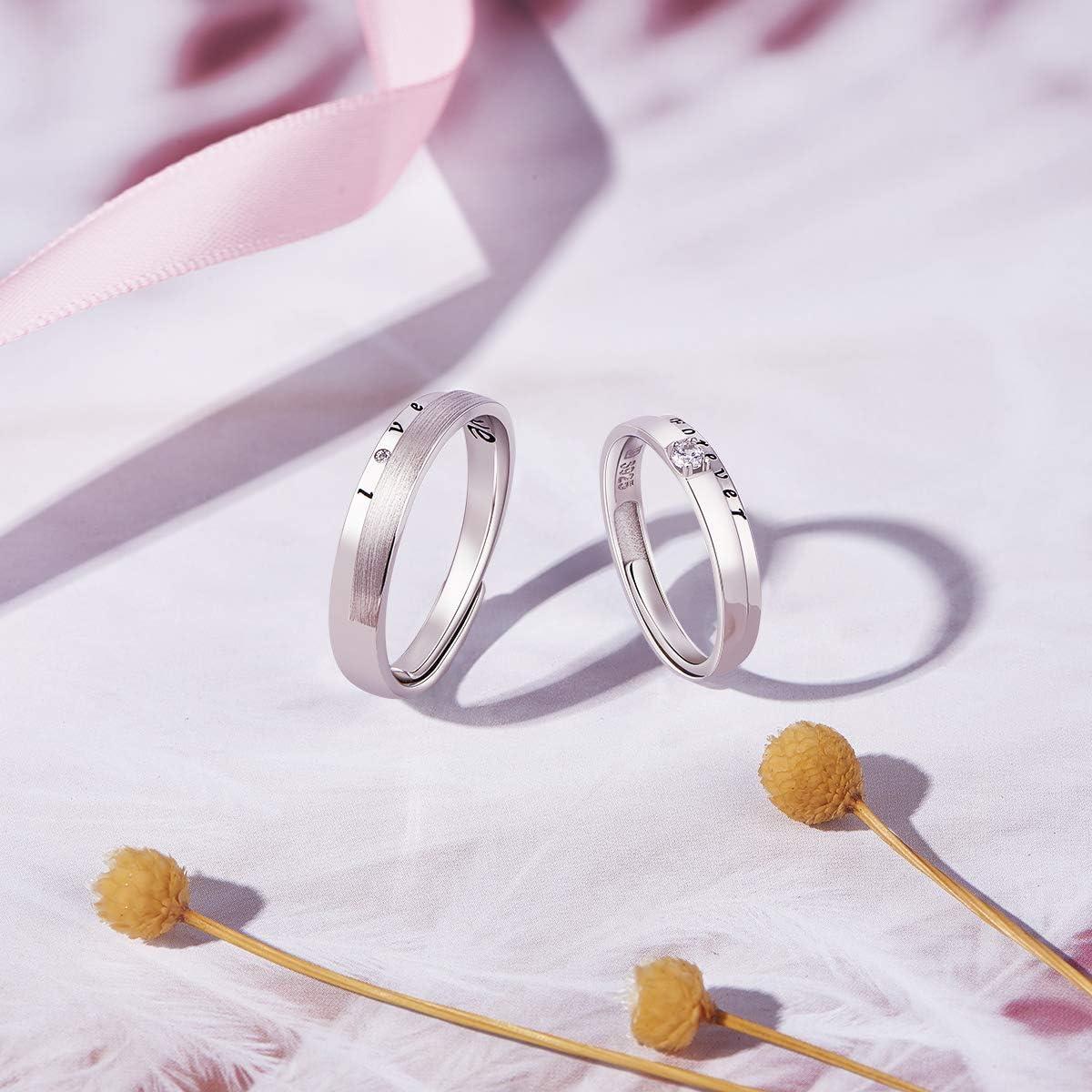 SHEGRACE Bague en Couple en Argent Sterling 925 Bague pour Femme m/ét/éorite Bijoux pour Femmes Cadeau de No/ël pour la Saint-Valentin Argent