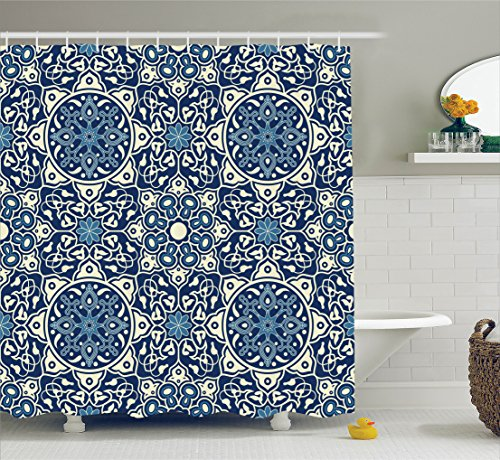 Ambesonne Arabian Decor Collection, Floral Antique Tile Pattern Decorative Delicate Ornamental Design Art Print, Polyester Fabric Bathroom Shower Curtain, 75 Inches Long, Indigo Blue White
