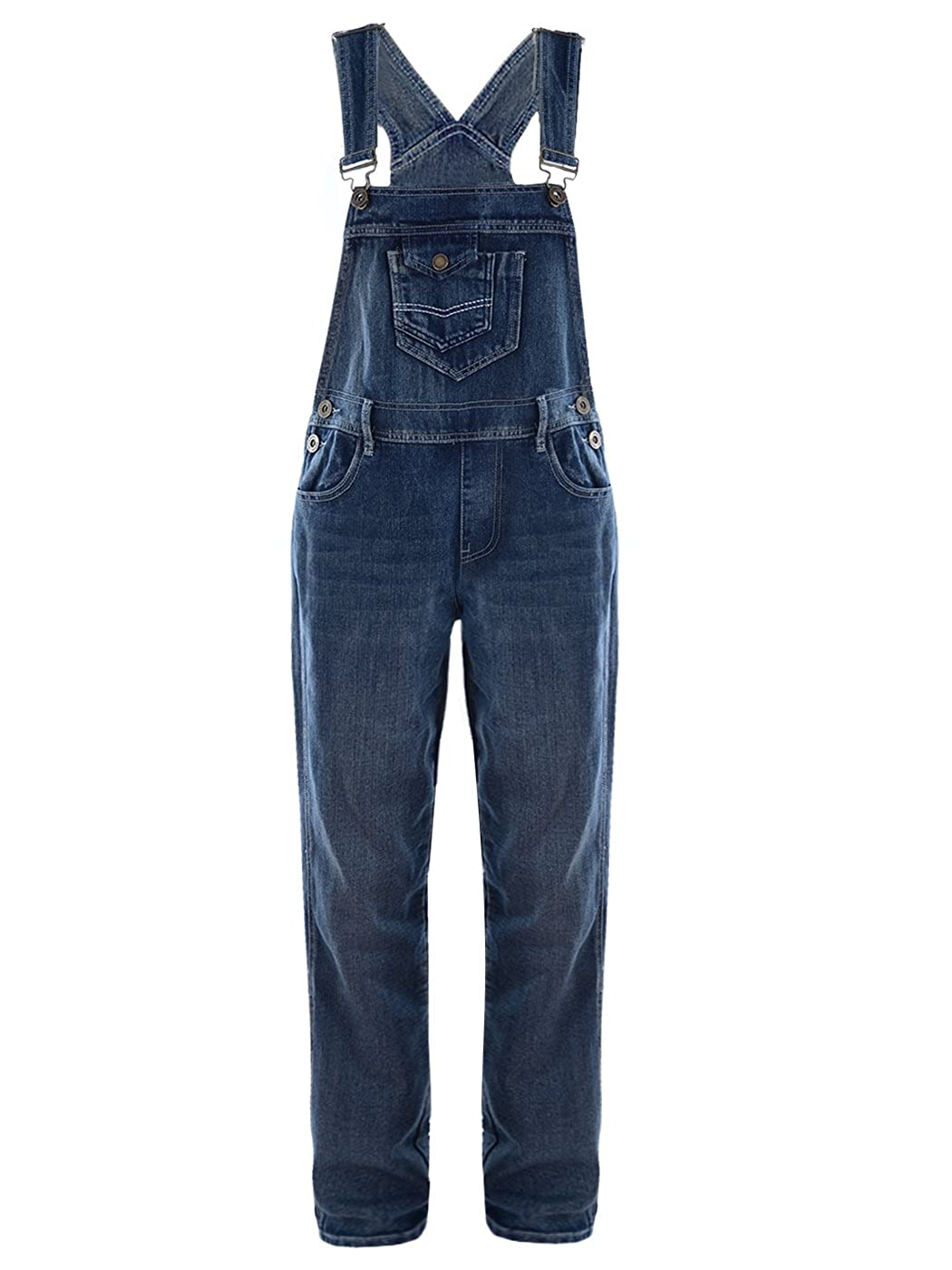 Anna-Kaci Womens Blue Denim Jean Straight Leg Distressed Pocket Bib Overalls Y92717-M/LDE