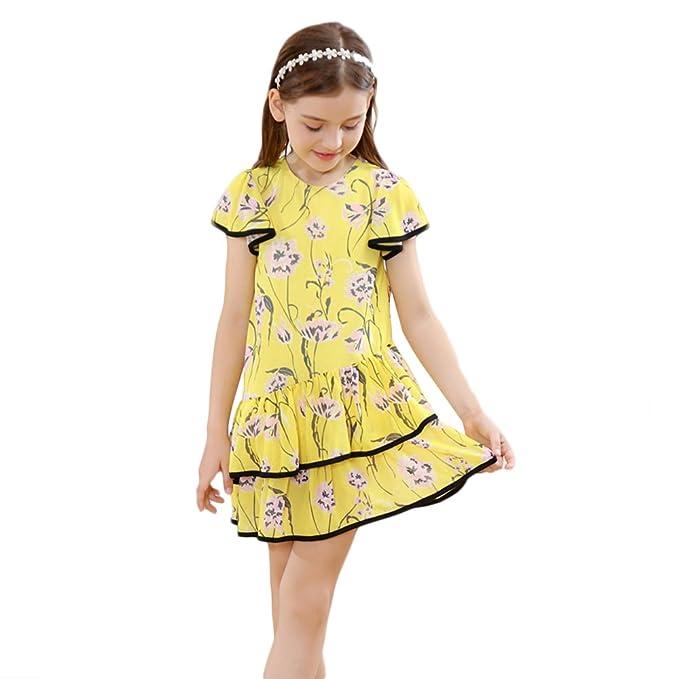 Vestido de Niñas Vestido Mariposa de Flor Volantes de Lace Vestido Floral Princesa Vestido De Fiesta