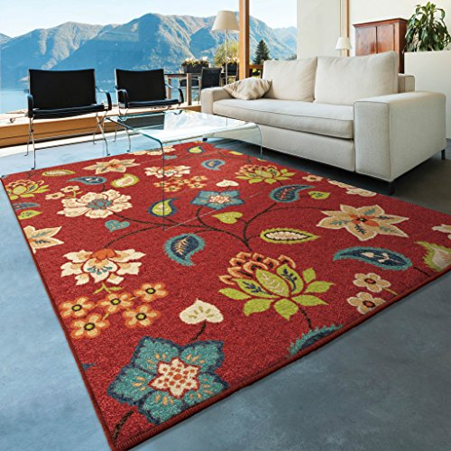 Garden Chintz - Orian Rugs Indoor/Outdoor Floral Garden Chintz Red Area Rug (5'2