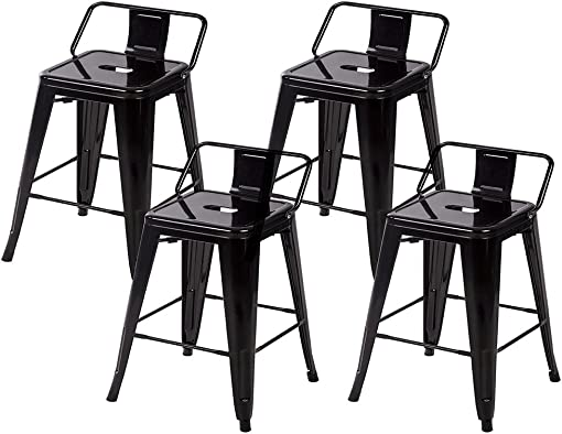 BestMassage 24'' Metal Frame Tolix Style Bar Stools Industrial Chair