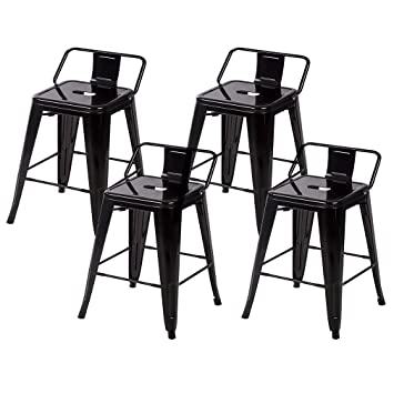 Surprising Bestmassage 24 Metal Frame Tolix Style Bar Stools Industrial Chair With Back Set Of 4 Pabps2019 Chair Design Images Pabps2019Com