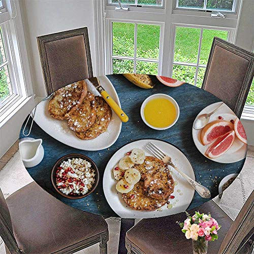 Luxury Round Table Cloth for Home use Breakfast Caramel French Toast with Banana Cottage Cheese for Buffet Table, Holiday Dinner 47.5