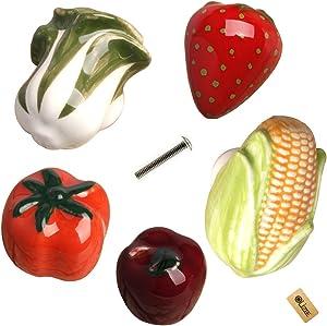 OLizee Vegetable Fruit Children Room Cabinet Drawer Pull Knob Apple, Corn, Vegetable, Tomato, Strawberry Set of 5