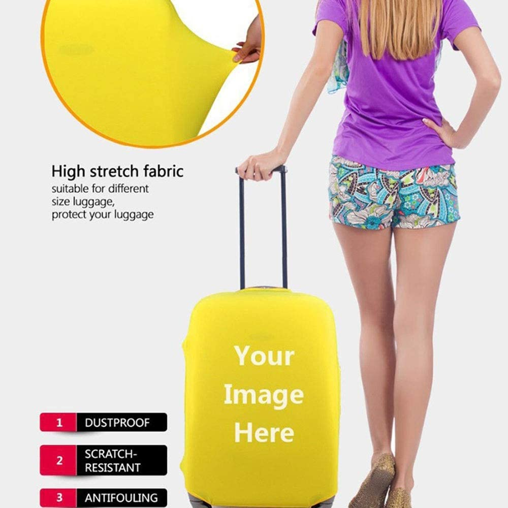 22-24 Color : Yellow, Size : M Oureong Luggage Cover Modern City Travel Luggage Cover Rainproof Elastic Suitcase Protector Fits 18 to 32 Inch Luggage Anti-Scratch Dustproof Suitcase Cover