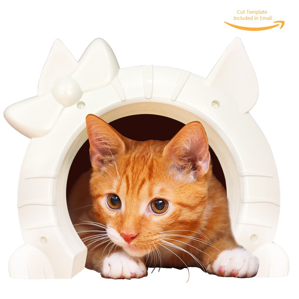 Cat Door for Interior Doors - Kitty Pass with Cats Shaped Portal - Large White Pet Indoor Through Wall Hole for 2-Way Pets Passes