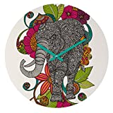 Deny Designs Valentina Ramos,  Ruby The Elephant , Round Clock, Round, 12''