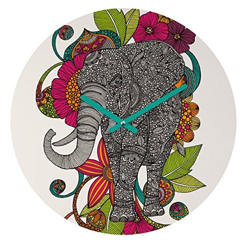 Ruby Elephant - Deny Designs Valentina Ramos, Ruby The Elephant, Round Clock, Round, 12