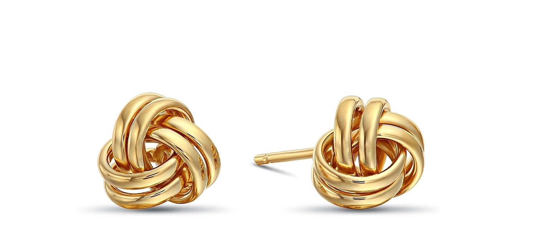 14k Yellow or White Gold Love Knot Stud Earrings Secure Screw-backs 7mm