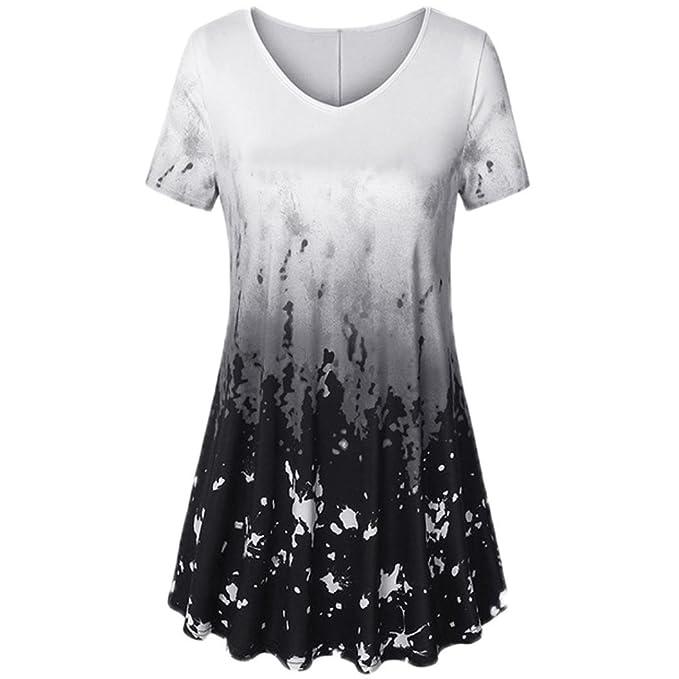 SANFASHION Bekleidung Camisas - con Botones - Liso - Redondo - Manga Corta - para Mujer