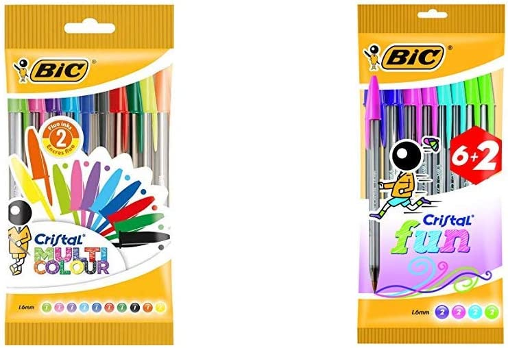 BIC Cristal Multicolour bolígrafos Punta Ancha (1,6 mm) – colores Surtidos, Blíster de 10 unidades + Cristal Fun bolígrafos Punta Ancha (1,6 mm) – colores Surtidos, Blíster de 6+2: Amazon.es: Oficina y papelería