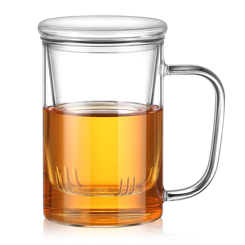 Ecooe Borosilicate Glass Tea Cup Tea Glasses 500mL (Full Capacity) TPOFFICE500-S