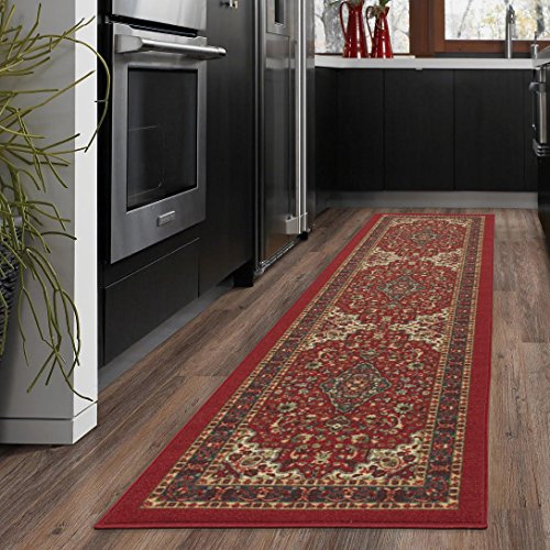 (Ottomanson New Ottohome Persian Heriz Oriental Design Runner Rug with Non-Skid Rubber Backing, Red, 22