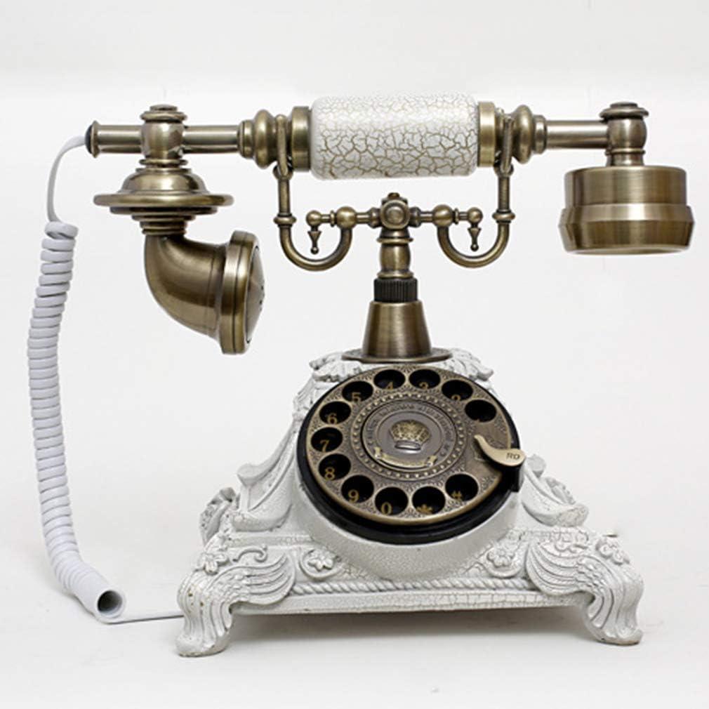 WHANJI Teléfono Antiguo inalámbrico Giratorio Europeo, teléfono Fijo residencial Teléfono inalámbrico Antiguo Giratorio con dial Giratorio Funcional y Campana de Metal clásica, decoración del hogar