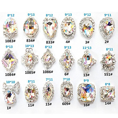 JIEPING 18 Pcs/Bag Rhinestone Nail Art Decoration Glitter Charming Shiny Faux Gem 3D DIY Nail Art - Art Gems
