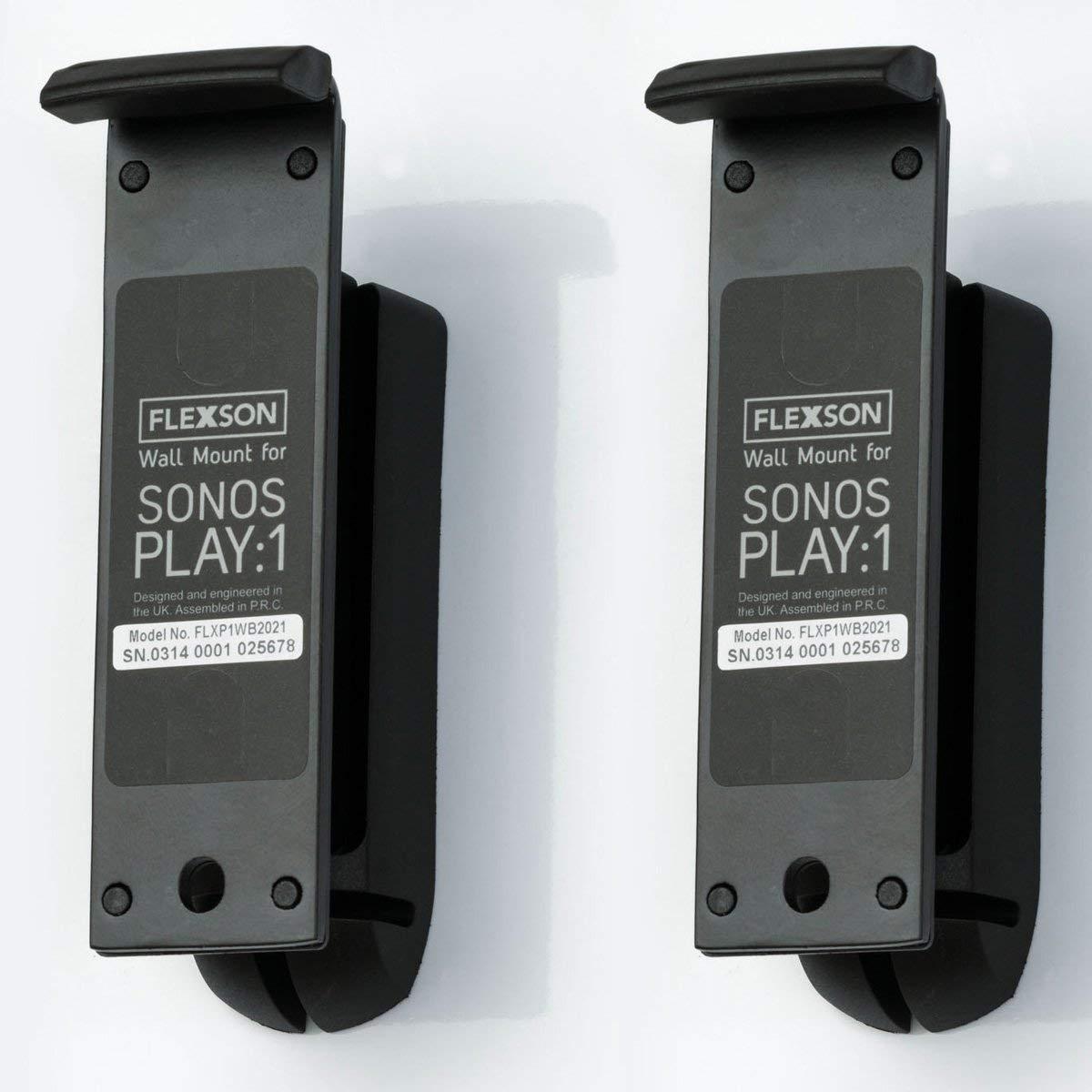 1 Paar Flexson Wandhalterung f/ür Sonos PLAY:1 mit Befestigungssatz schwarz