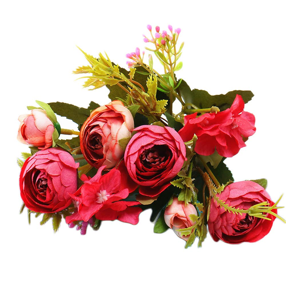 Artificial Flowers,Longay 1 Bouquet Vintage Artificial Peony Silk Flowers Bouquet for Decoration (Red)