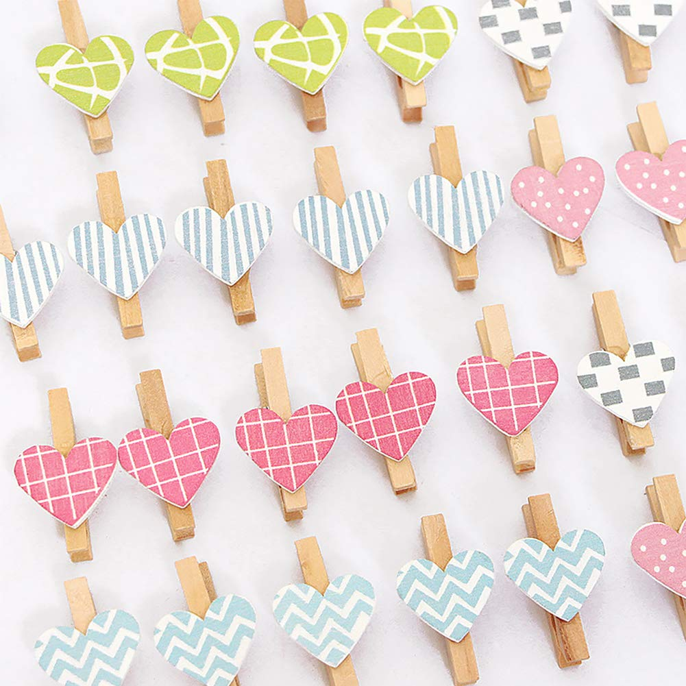 Ruiting Wooden Clip Heart Shape 30Pcs with Jute Rope Mini Photo Paper Peg DIY Craft Colorful Heart Photo Clips