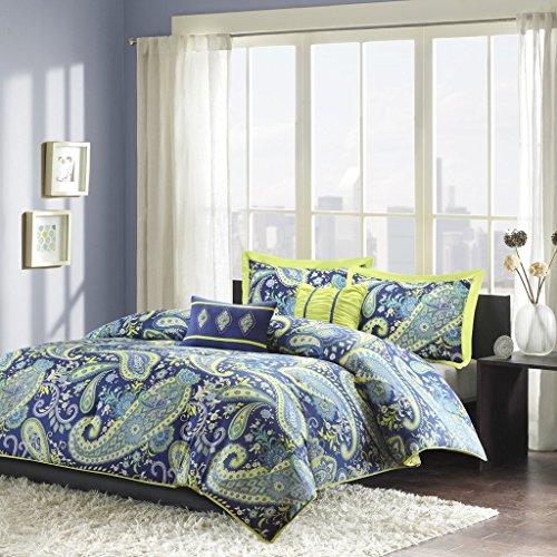 Intelligent Design Melissa Comforter Set Full/Queen Size - Blue Green, Paisley – 5 Piece Bed Sets – Peach Skin Microfiber Teen Bedding for Girls Bedroom