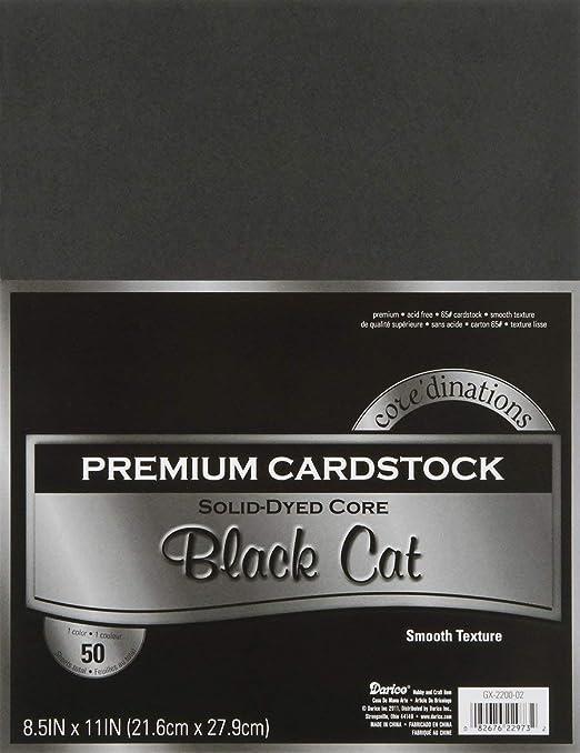 """Darice Value Pack Smooth Cardstock 8.5/""""X11/"""" 50//Pkg-Black Cat"""
