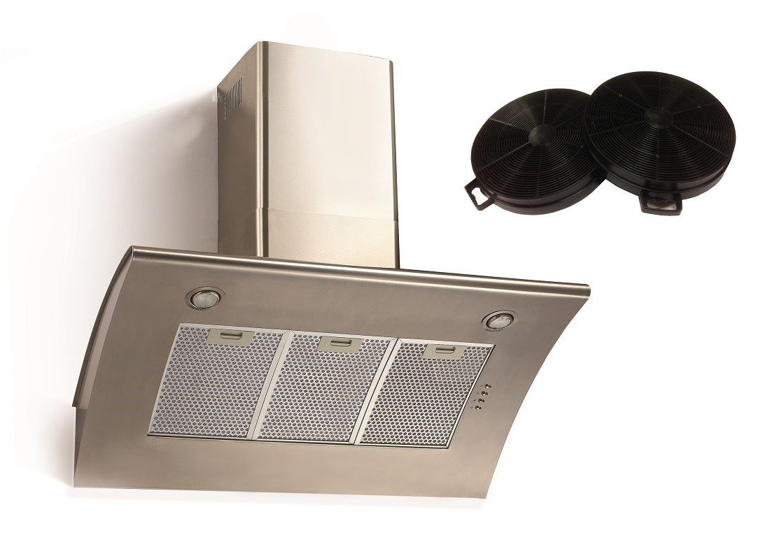 Cookology ARCH900SS 90cm Extractor Fan | Angled Stainless Steel Chimney Cooker Hood & Recirculating Filters ARCH900SS CCF200