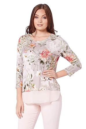 c293b3d366bf2d Roman Originals Women Floral Print Chiffon Hem Jersey Top - Ladies Clothing  Day Floral 3 4 Sleeve Tops - Grey  Amazon.co.uk  Clothing