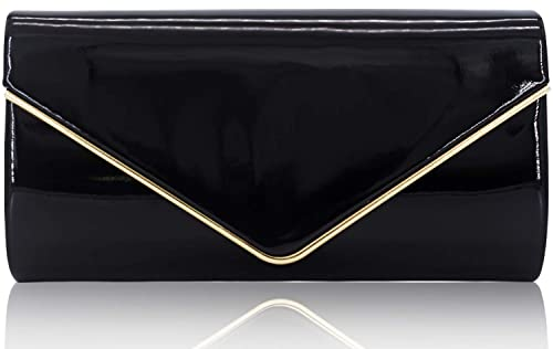 5b79616ca7b Dexmay Patent Leather Envelope Clutch Purse Shiny Candy Foldover Clutch  Evening Bag for Women Black