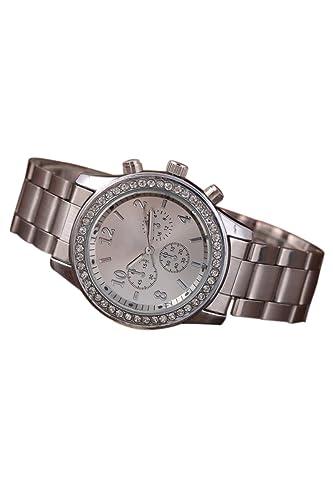 Reloj de mujer - Geneva Cristal Unisexo Acero inoxidable Reloj de pulsera de cuarzo Plata: Amazon.es: Relojes