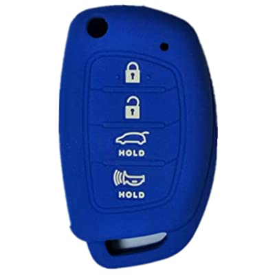 RUNZUIE Silicone Keyless Entry Remote Key Fob Cover Case Protector Shell for Hyundai Tucson Sonata Santa Fe TQ8-RKE-4F16 (Blue 4 Buttons): Automotive [5Bkhe0417333]