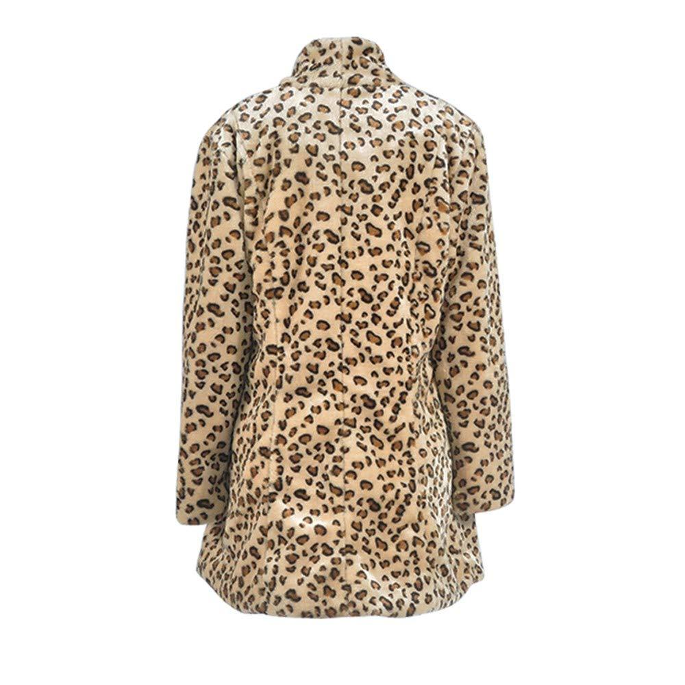ALIKEEY Mujeres De Manga Larga Leopardo De Impresión Pocketfashion Capa Blusa Camiseta Tank Tops termica Manga Larga Deportiva Vestido de Noche Largo: ...
