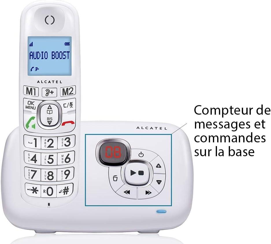 Alcatel XL385 Voice - Teléfono (Teléfono DECT, Terminal inalámbrico, Altavoz, 50 entradas, Identificador de Llamadas, Blanco): Amazon.es: Electrónica