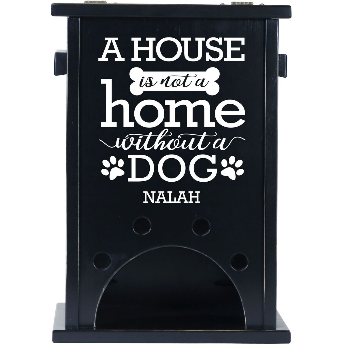 Personalized Custom Digital Pine Pet Toy Box Storage Organizer, Birthday gift for Dogs, Daughter, Sons, Boys and Girls, Grandchildren, Made in USA By Rooms Organized (Black)