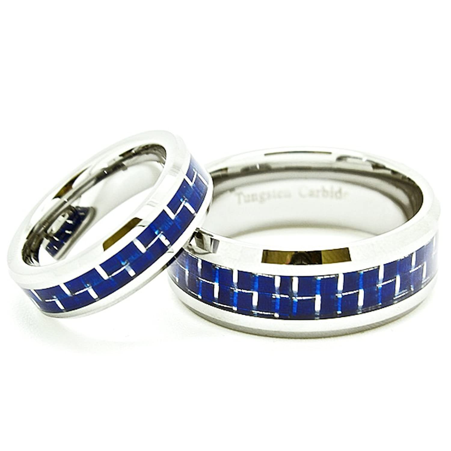 Matching 6mm & 9mm Blue Carbon Fiber Inlay Tungsten Wedding Bands (Check listing for sizes)