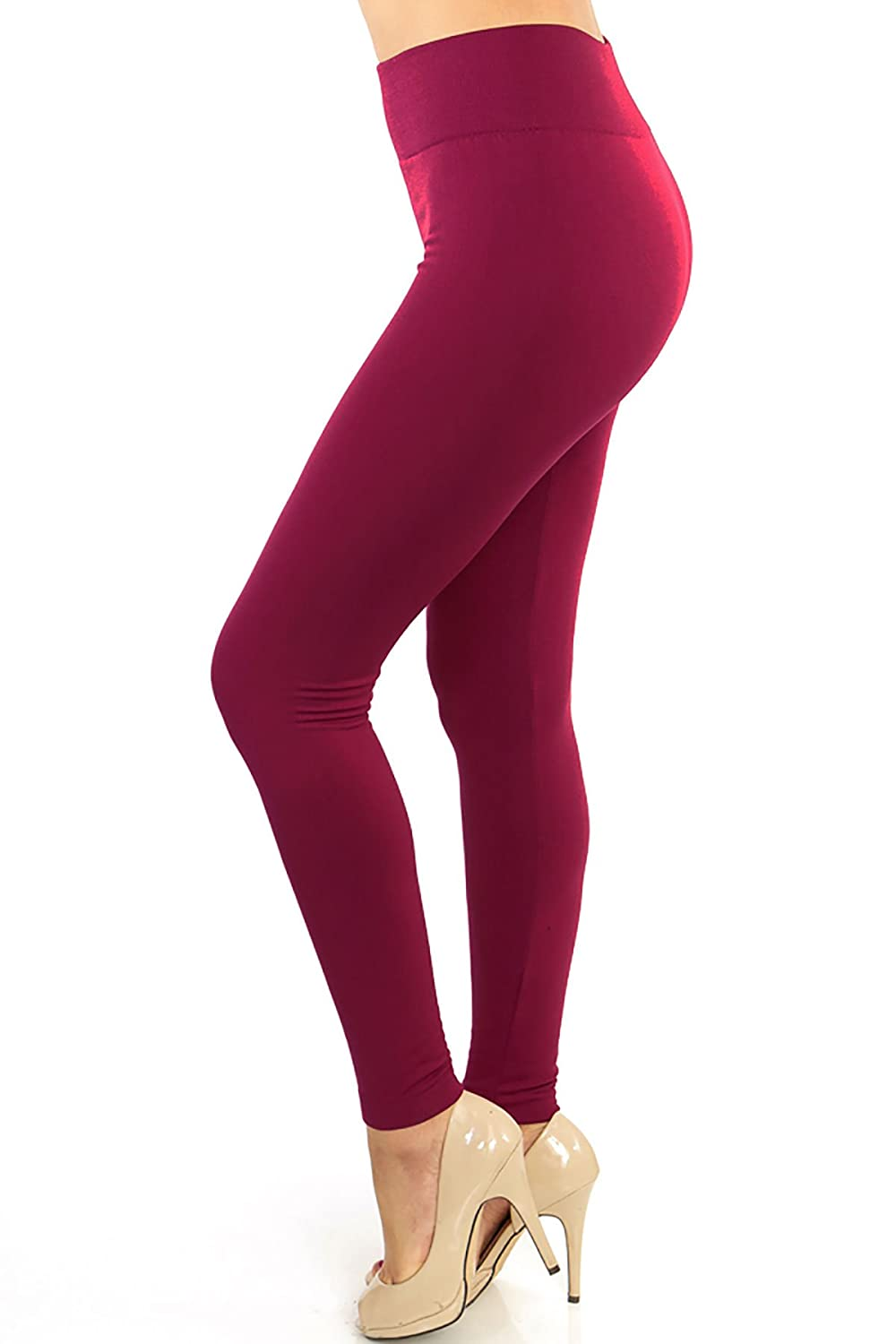 Women/'s Plus Size Solid Burgundy Color Brushed Full Length Leggings SOL01R
