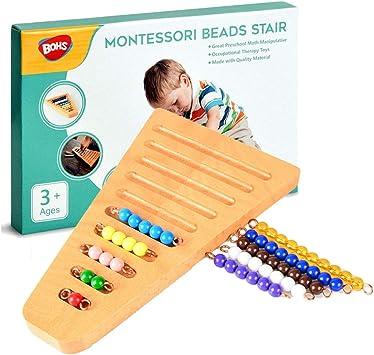 BOHS Montessori 1-10 de Bolas de Escalera con Soporte - Montessori Matemáticas Materiales manipulativos - Aprendizaje Preescolar Juguetes educativos: Amazon.es: Juguetes y juegos