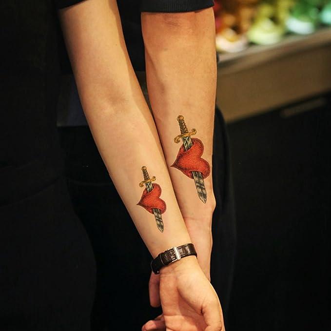 TAFLY una flecha a través de un corazón tatuajes temporales falsos ...