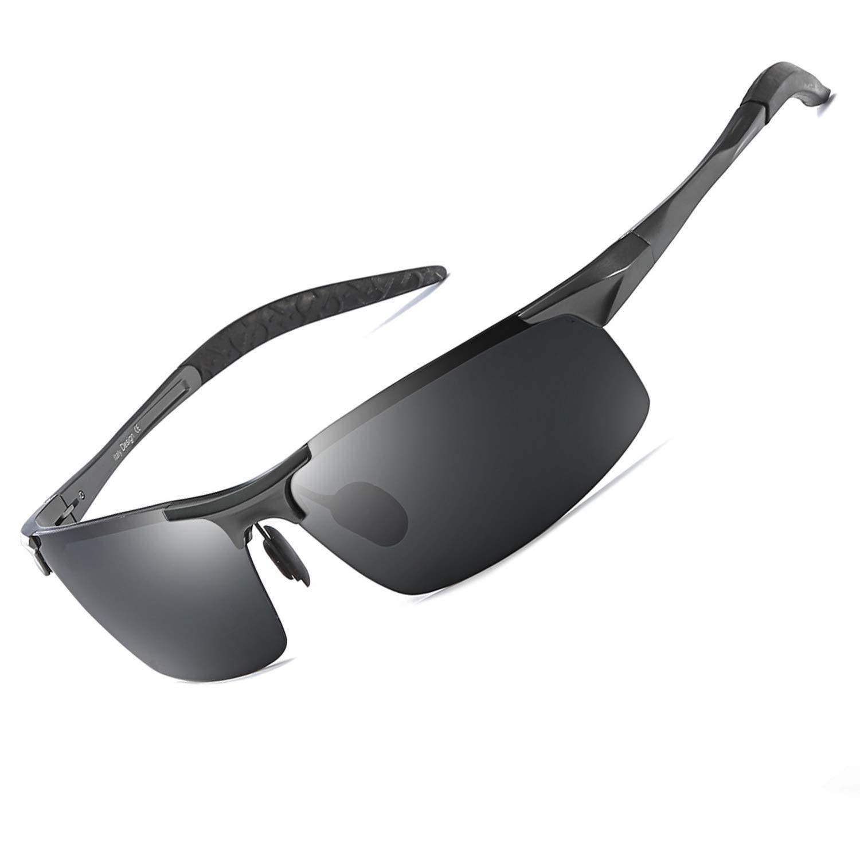 Uomo Occhiali da Sole Sportivi Polarizzati Antiriflesso Ultraleggero Cornice Metallica Protezione al 100% Contro i Dannosi Raggi UVA/UVB