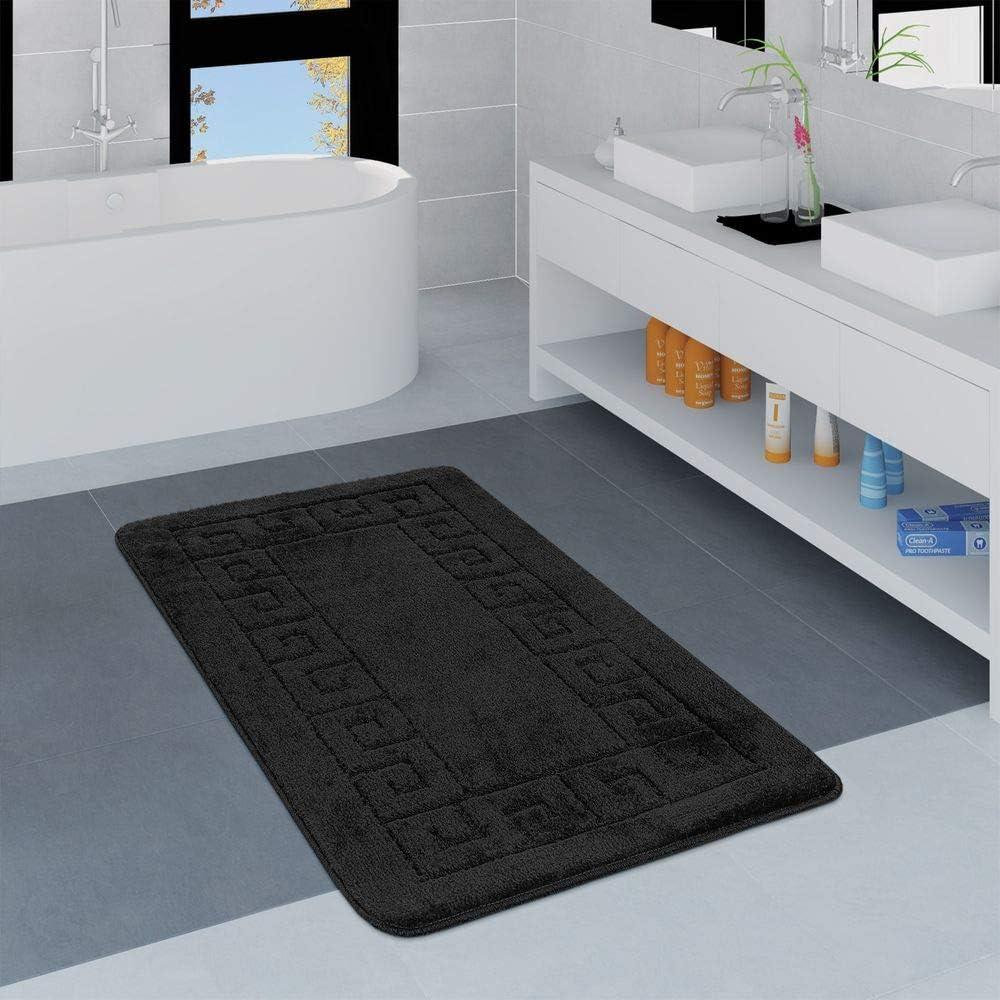 Tappeto Bagno Moderno Scendibagno Motivo a Quadri Monocolore Bianco Dimensione:40x55 cm