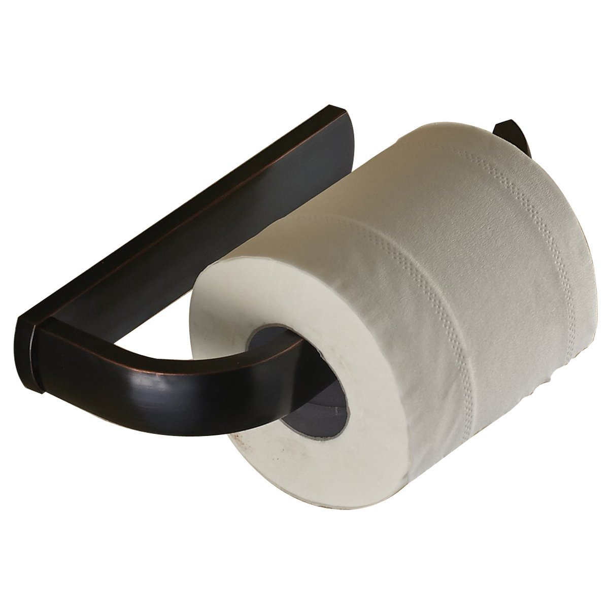Leyden Black Oil Rubbed Bronze Finish Half Open Toilet Roll Paper Rail Holder Wall Mounted Brass Material Convenient Toilet Tissue Single Rail Holder