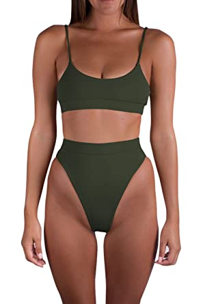 ebff6ed6915 Viottis Women's Spaghetti Straps High Cut Thong Swimsuit S Army Green