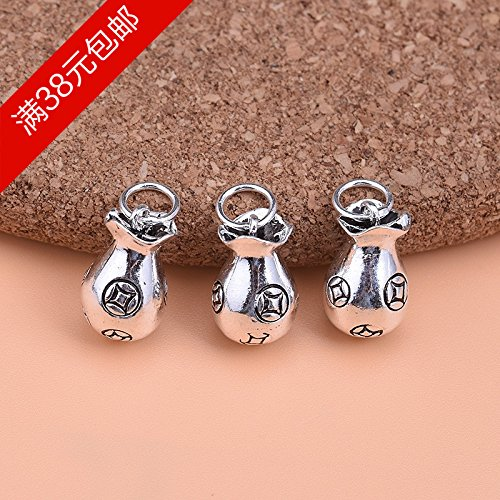 usongs 925 sterling silver necklace pendant Thai silver coins purse necklace pendant retro accessories hand-beaded bracelet necklace pendant DIY accessories