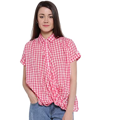 0836e2bc silly people Top for Women - Pink Checked Top for Women - Soft Cotton  Material -