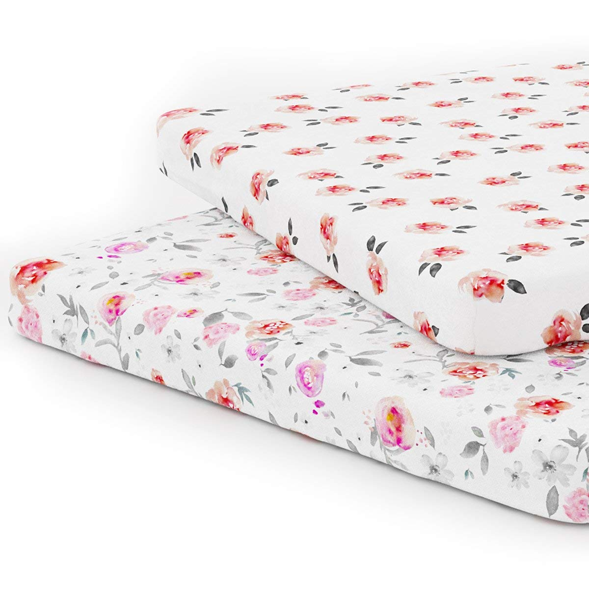 Pack n Play Playard Sheet Set - Portable Mini Crib Mattress Pad Sheets - Convertible Mattress Cover - Stretchy Fitted Jersey Cotton Will Fit Any Playard Size - Soft Baby Safe Fabric for Girls - Petal